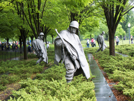 War memorial with statues from Korean War in Washington USA Editorial