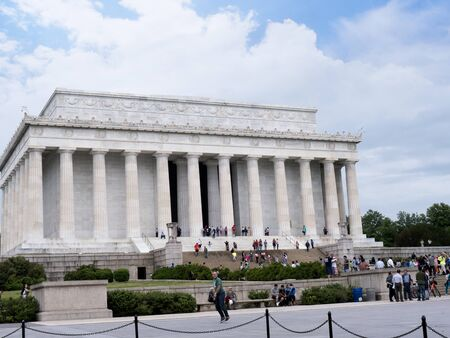 abraham lincoln: Lincoln Memorial with its Enormous Statue of Abraham Lincoln  in Washington DC USA