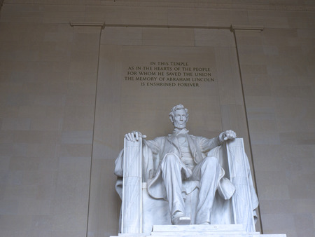 abraham: Lincoln Memorial with its Enormous Statue of Abraham Lincoln  in Washington DC USA