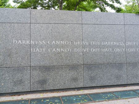 The Martin Luther King, Jr. Memorial is located in West Potomac Park in Washington, D.C  The memorial is  on a sightline linking the Lincoln Memorial to the northwest and the Jefferson Memorial to the southeast.