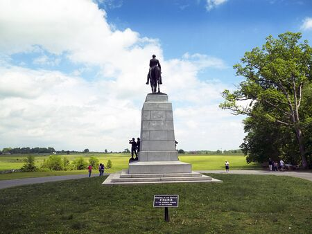 The Battlefield in Gettysburg Pennsylvania which is dotted to many memorials to the fallen and to commemorate the individuals involved Editorial