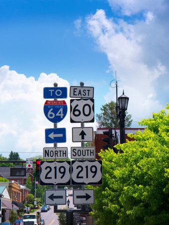 philanthropist: Lewisburg Signpost in West Virginia USA Editorial