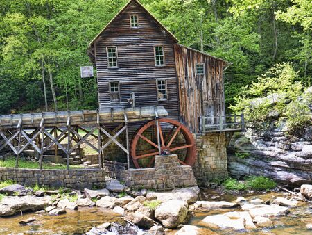 grist: Glade Creek Grist Mill in Babcock State Park West Virginia Stati Uniti d'America