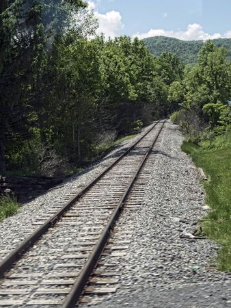 west virginia trees: Train track through Babcock State Park West Virginia USA