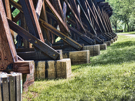 trestle: The train trestle in the town of Harpers Ferry in Virginia USA