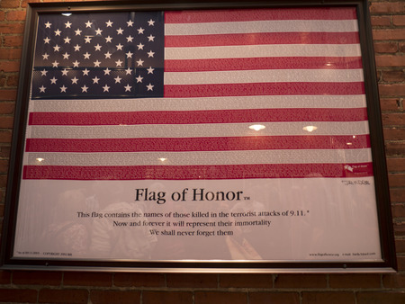 Flag with the names of the people who died in the Twin Towers in New York City USA