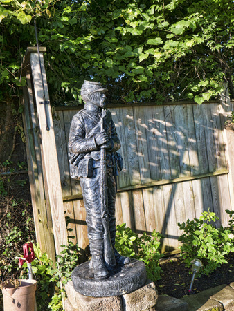 carpark: Statue of Civil War Soldier in carpark of hotel in Bardstown Kentucky USA Editorial