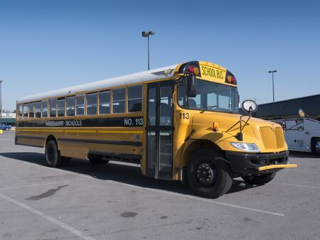schoolbus: Schoolbus at Car Park in Bardstown Kentucky USA Editorial