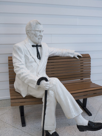 colonel: Museum at the first original Kentucky Fried Chicken Cafe in Corbin Kentucky USA Editorial