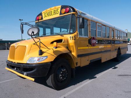 yellow schoolbus: Schoolbus at Car Park in Kentucky USA
