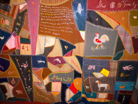 artefacts: Display of Quilting in the Museum of Appalachia Clinton Tennesee USA Editorial