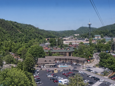 cable car: Cable Car up the mountain in Gatlinburg Tennessee