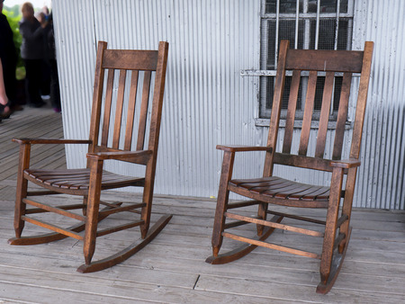 bourbon: Rocking Chairs on the Porch of A Bourbon Distilley in Bardstown Kentucky