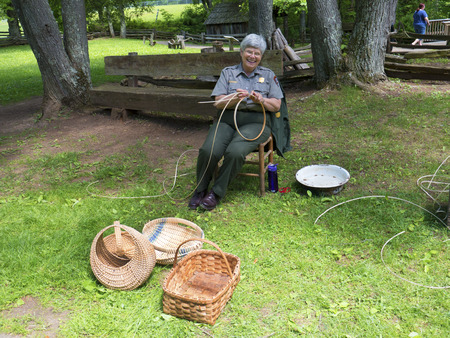 basket weaving: Basket Making demonstration at Mabry Mill Virginia
