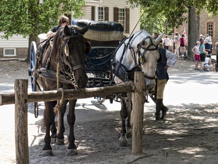 earliest: Historic Colonial Williamsburg where the earliest European settlers established their first colony in Virginia USA
