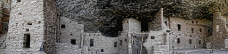 dwellings: Panorama of the cliff dwellings in Mesa Verde National Park Colorado USA.