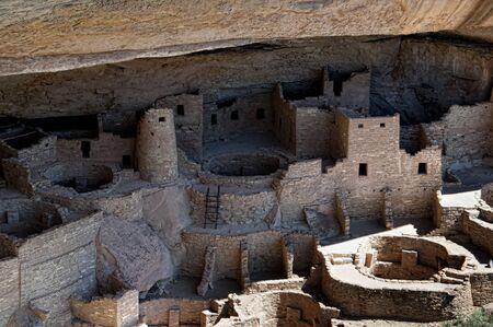 mesa: The cliff dwellings in Mesa Verde National Park Colorado USA. Stock Photo