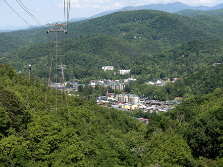 Cable Car up into the Smokey Mountains above Gatlinburg Tennessee USA Stock Photo