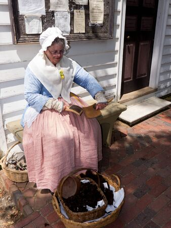 europeans: Historic Colonial Williamsburg where the earliest European settlers established their first colony in Virginia USA