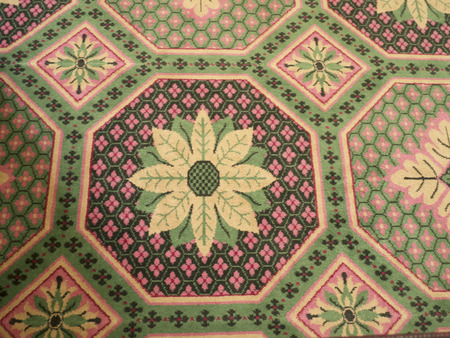earliest: Carpet in Governors Palace in Colonial Williamsburg where the earliest European settlers established their first colony in Virginia USA