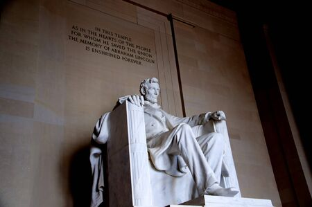 grecian: Lincoln Memorial with its Enormous Statue of Abraham Lincoln in Washington DC USA Editorial