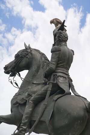 jackson: Statue of Andrew Stonewall Jackson In Washington DC USA. A red tailed hawk sits on his hat Editorial