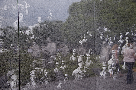 etched: Marble wall etched with images from the Korean War in Washington USA