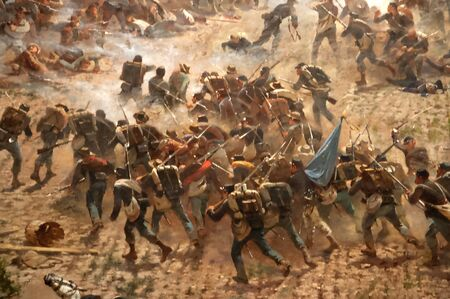 Diorama painting of the Battlefield in Gettysburg Pennsylvania USA