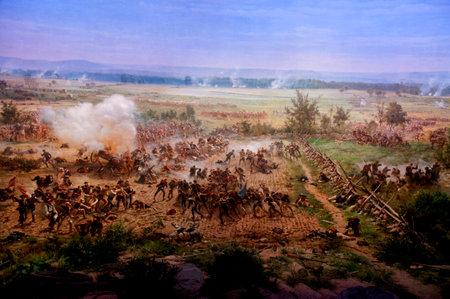Diorama painting of the Battlefield in Gettysburg Pennsylvania USA