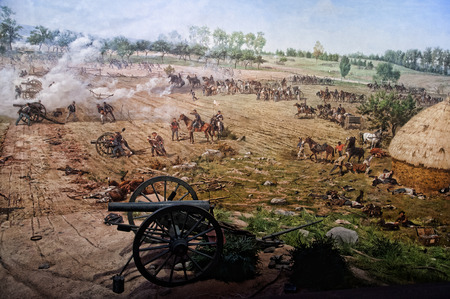 battlefield: Diorama painting of the Battlefield in Gettysburg Pennsylvania USA