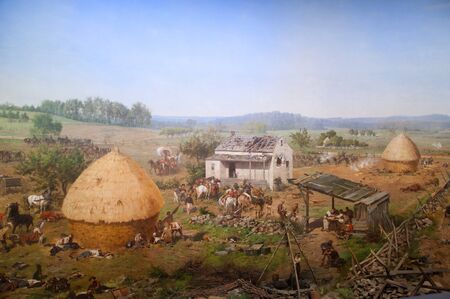 diorama: Diorama painting of the Battlefield in Gettysburg Pennsylvania USA
