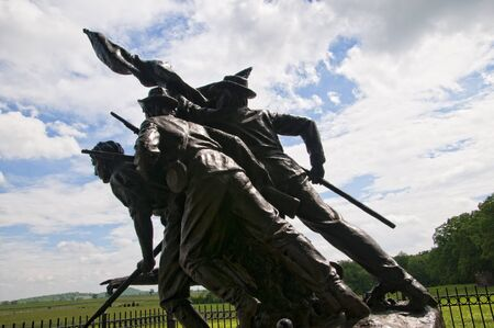 gettysburg: The Battlefield in Gettysburg Pennsylvania which is dotted to many memorials to the fallen and to commemorate the individuals involved Editorial