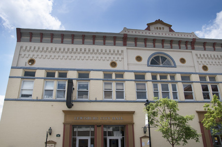 philanthropist: Lewisburg is a small town in West Virginia with a historic park in the Centre . The buildings on Main Street Editorial
