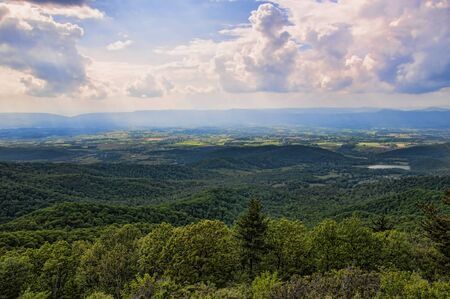 blue ridge: The Blue Ridge Mountains and the Shenandoah Valley of Virginia USA
