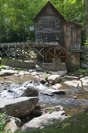 west virginia trees: Glade Creek Grist Mill in Babcock State Park West Virginia USA