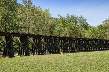 trestle: Railway Trestle in Harpers Ferry in Virgina USA Stock Photo