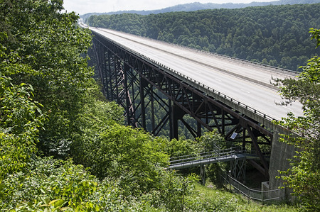 west virginia trees: New River Gorge Bridge in Babcock State Park West Virginia USA