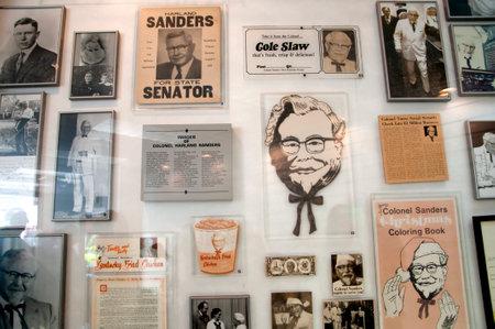 memorabilia: Museum at the first original Kentucky Fried Chicken Cafe in Corbin Kentucky USA Editorial