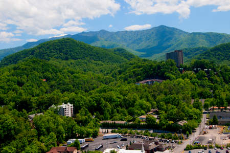 smokey: View of the Smokey Mountains from the Tower  in Gatlinburg a holiday resort in Tennessee USA