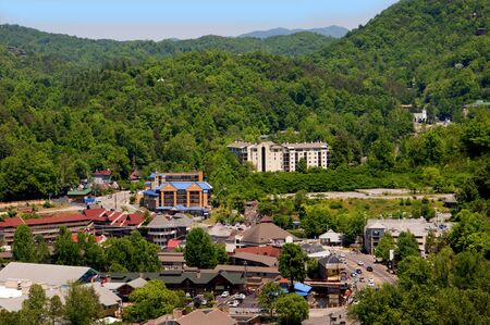 smokey: View of the Town in the Smokey Mountains from the Tower  in Gatlinburg a holiday resort in Tennessee USA Editorial
