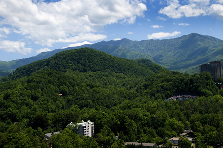 newfound gap: View of the Smokey Mountains from the Tower in Gatlinburg Tennessee USA