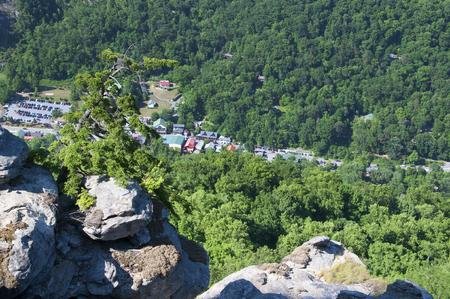 asheville: Chimney Rock State Park in Asheville North Carolina USA overlooking Hickory Nut Gorge