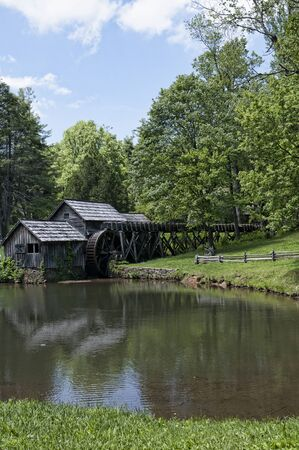 flour mill: Mabry Mill was a grist mill  grinding grain into flour on the Blue Ridge Parkway in Virginia and it is one of the most photographed places in America
