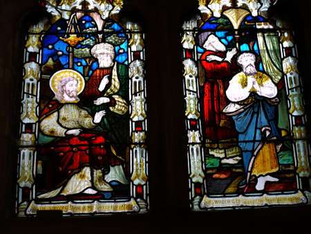 lancashire: Stained Glass Windows in the Parish Church of St Peter in Burnley Lancashire Editorial