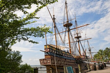 earliest: Historic Jamestown on the James River where the earliest European settlers established their first colony in Virginia USA