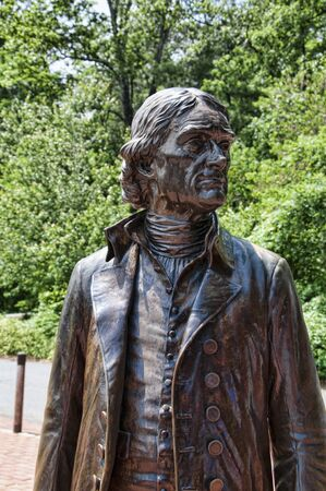 thomas: Statue of Thomas jefferson at the graceful house he built by the Potomac River near Richmond Virginia  USA Editorial