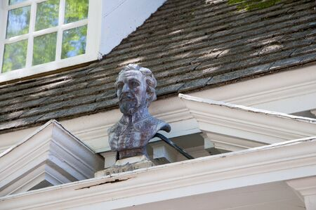 earliest: Head of Walter Raleigh in Historic Colonial Williamsburg where the earliest European settlers established their first colony in Virginia USA