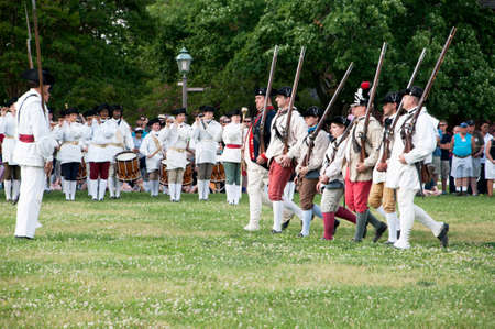 earliest: Battle Re-enactment in Historic Colonial Williamsburg where the earliest European settlers established their first colony in Virginia USA