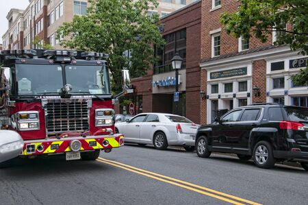 fire engine: Fire Engine on Main Street in Alexandria Virginia USA