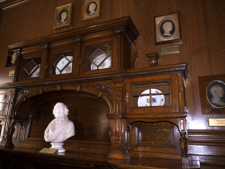 william: Room in Bodelwyddan Castle with bust of Writer William Makepiece Thackery